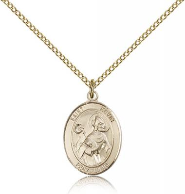 "Gold Filled St. Kevin Pendant, Gold Filled Lite Curb Chain, Medium Size Catholic Medal, 3/4"" x 1/2"""