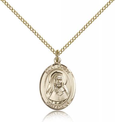 "Gold Filled St. Louise De Marillac Pendant, Gold Filled Lite Curb Chain, Medium Size Catholic Medal, 3/4"" x 1/2"""