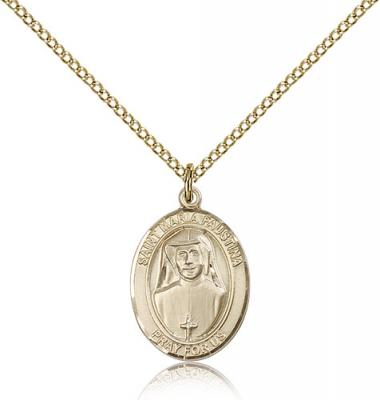 "Gold Filled St. Maria Faustina Pendant, Gold Filled Lite Curb Chain, Medium Size Catholic Medal, 3/4"" x 1/2"""