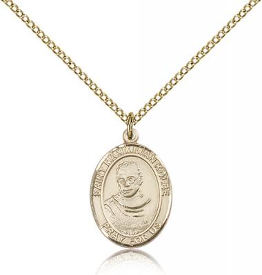 "Gold Filled St. Maximilian Kolbe Pendant, Gold Filled Lite Curb Chain, Medium Size Catholic Medal, 3/4"" x 1/2"""