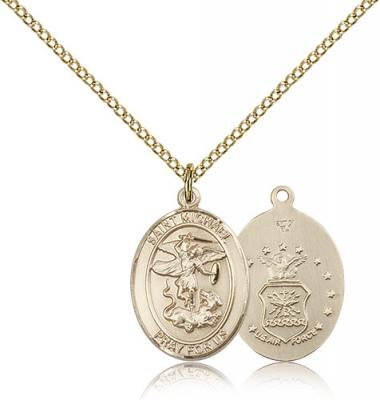 "Gold Filled St. Michael / Air Force Pendant, Gold Filled Lite Curb Chain, Medium Size Catholic Medal, 3/4"" x 1/2"""