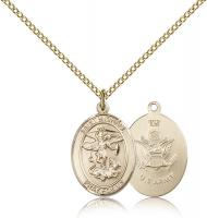 "Gold Filled St. Michael / Army Pendant, Gold Filled Lite Curb Chain, Medium Size Catholic Medal, 3/4"" x 1/2"""