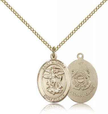 "Gold Filled St. Michael / Coast Guard Pendant, Gold Filled Lite Curb Chain, Medium Size Catholic Medal, 3/4"" x 1/2"""