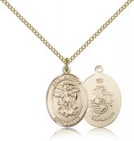 "Gold Filled St. Michael / Marines Pendant, Gold Filled Lite Curb Chain, Medium Size Catholic Medal, 3/4"" x 1/2"""