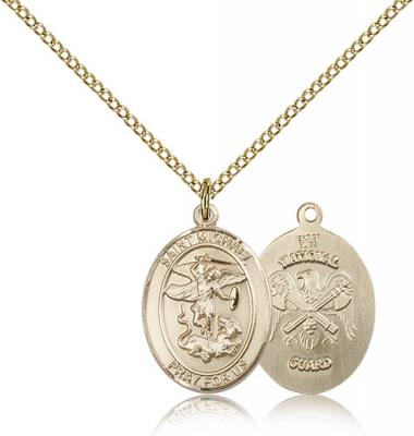 "Gold Filled St. Michael / Nat'l Guard Pendant, Gold Filled Lite Curb Chain, Medium Size Catholic Medal, 3/4"" x 1/2"""