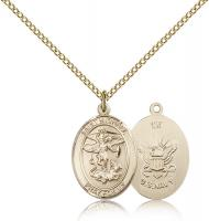 "Gold Filled St. Michael / Navy Pendant, Gold Filled Lite Curb Chain, Medium Size Catholic Medal, 3/4"" x 1/2"""