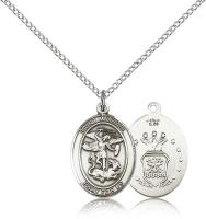 "Sterling Silver St. Michael / Air Force Pendant, Sterling Silver Lite Curb Chain, Medium Size Catholic Medal, 3/4"" x 1/2"""