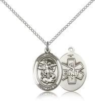 "Sterling Silver St. Michael / Emt Pendant, Sterling Silver Lite Curb Chain, Medium Size Catholic Medal, 3/4"" x 1/2"""