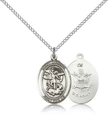 "Sterling Silver St. Michael / Army Pendant, Sterling Silver Lite Curb Chain, Medium Size Catholic Medal, 3/4"" x 1/2"""