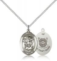 "Sterling Silver St. Michael / Coast Guard Pendant, Sterling Silver Lite Curb Chain, Medium Size Catholic Medal, 3/4"" x 1/2"""