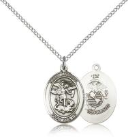 "Sterling Silver St. Michael / Marines Pendant, Sterling Silver Lite Curb Chain, Medium Size Catholic Medal, 3/4"" x 1/2"""