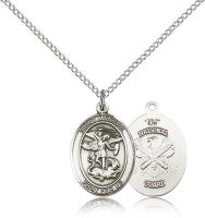 "Sterling Silver St. Michael / Nat'l Guard Pendant, Sterling Silver Lite Curb Chain, Medium Size Catholic Medal, 3/4"" x 1/2"""