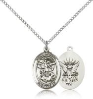 "Sterling Silver St. Michael / Navy Pendant, Sterling Silver Lite Curb Chain, Medium Size Catholic Medal, 3/4"" x 1/2"""