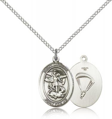 "Sterling Silver St. Michael / Paratrooper Pendant, Sterling Silver Lite Curb Chain, Medium Size Catholic Medal, 3/4"" x 1/2"""