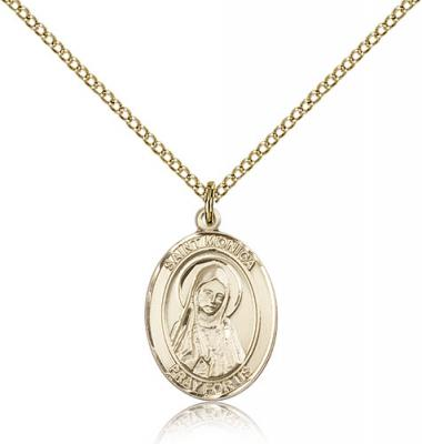 "Gold Filled St. Monica Pendant, Gold Filled Lite Curb Chain, Medium Size Catholic Medal, 3/4"" x 1/2"""