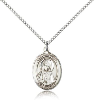 "Sterling Silver St. Monica Pendant, Sterling Silver Lite Curb Chain, Medium Size Catholic Medal, 3/4"" x 1/2"""