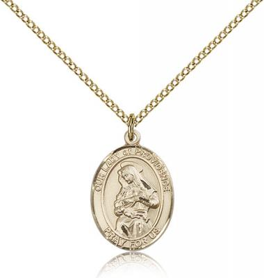 "Gold Filled Our Lady of Providence Pendant, Gold Filled Lite Curb Chain, Medium Size Catholic Medal, 3/4"" x 1/2"""