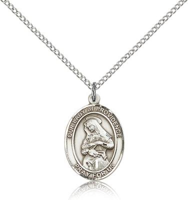 "Sterling Silver Our Lady of Providence Pendant, Sterling Silver Lite Curb Chain, Medium Size Catholic Medal, 3/4"" x 1/2"""