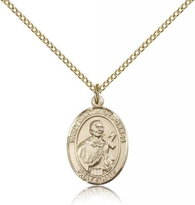 "Gold Filled St. Martin De Porres Pendant, Gold Filled Lite Curb Chain, Medium Size Catholic Medal, 3/4"" x 1/2"""