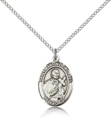 "Sterling Silver St. Martin De Porres Pendant, Sterling Silver Lite Curb Chain, Medium Size Catholic Medal, 3/4"" x 1/2"""