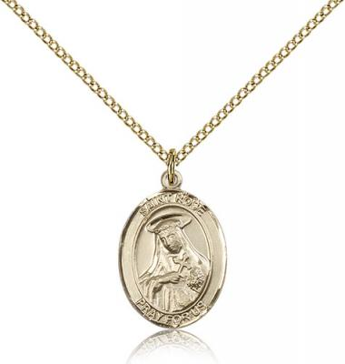 "Gold Filled St. Rose of Lima Pendant, Gold Filled Lite Curb Chain, Medium Size Catholic Medal, 3/4"" x 1/2"""
