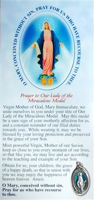 Prayer to Our Lady of the Miraculous Medal Pamphlet with Miraculous Medal