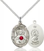 Sterling Silver Oval Scapular Medal with Ruby 8098SS-STN7/18SS