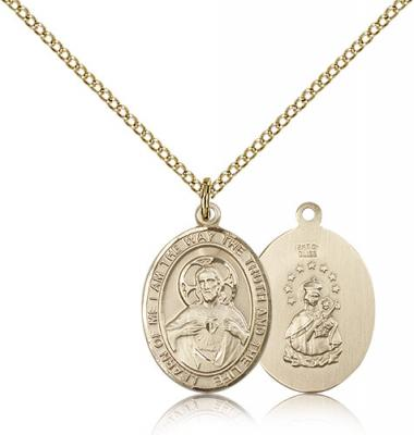 "Gold Filled Scapular Pendant, Gold Filled Lite Curb Chain, Medium Size Catholic Medal, 3/4"" x 1/2"""