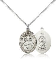 "Sterling Silver Scapular Pendant, Sterling Silver Lite Curb Chain, Medium Size Catholic Medal, 3/4"" x 1/2"""