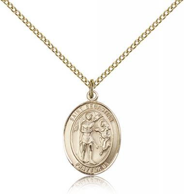 "Gold Filled St. Sebastian Pendant, Gold Filled Lite Curb Chain, Medium Size Catholic Medal, 3/4"" x 1/2"""