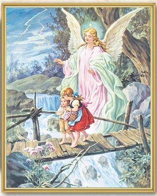 Guardian Angel Crossing the Bridge with Children Wall Plaque 810-350