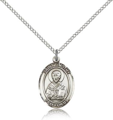 "Sterling Silver St. Timothy Pendant, Sterling Silver Lite Curb Chain, Medium Size Catholic Medal, 3/4"" x 1/2"""