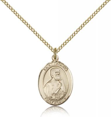 "Gold Filled St. Thomas the Apostle Pendant, Gold Filled Lite Curb Chain, Medium Size Catholic Medal, 3/4"" x 1/2"""