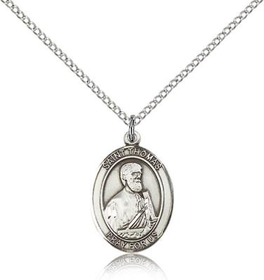 "Sterling Silver St. Thomas the Apostle Pendant, Sterling Silver Lite Curb Chain, Medium Size Catholic Medal, 3/4"" x 1/2"""