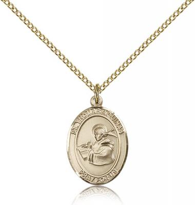"Gold Filled St. Thomas Aquinas Pendant, Gold Filled Lite Curb Chain, Medium Size Catholic Medal, 3/4"" x 1/2"""