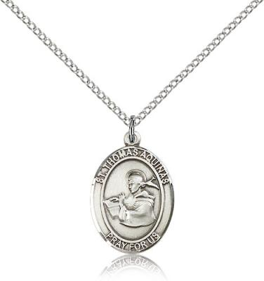 "Sterling Silver St. Thomas Aquinas Pendant, Sterling Silver Lite Curb Chain, Medium Size Catholic Medal, 3/4"" x 1/2"""
