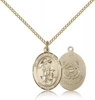"Gold Filled Guardian Angel / Coast Guard Pendant, Gold Filled Lite Curb Chain, Medium Size Catholic Medal, 3/4"" x 1/2"""