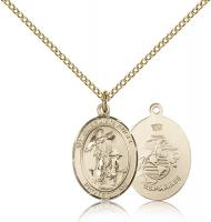 "Gold Filled Guardian Angel / Marines Pendant, Gold Filled Lite Curb Chain, Medium Size Catholic Medal, 3/4"" x 1/2"""