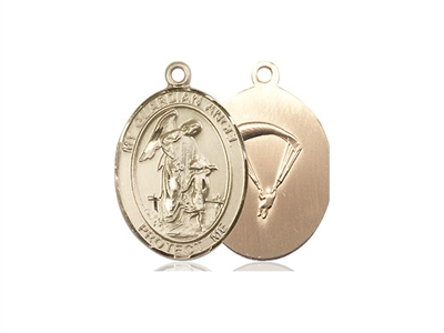"Gold Filled Guardian Angel/Paratrooper Pendant, GF Lite Curb Chain, Medium Size Catholic Medal, 3/4"" x 1/2"""