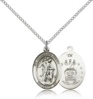 "Sterling Silver Guardian Angel / Air Force Pendant, Sterling Silver Lite Curb Chain, Medium Size Catholic Medal, 3/4"" x 1/2"""