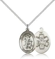 "Sterling Silver Guardian Angel / Emt Pendant, Sterling Silver Lite Curb Chain, Medium Size Catholic Medal, 3/4"" x 1/2"""