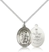 "Sterling Silver Guardian Angel / Army Pendant, Sterling Silver Lite Curb Chain, Medium Size Catholic Medal, 3/4"" x 1/2"""