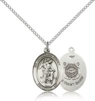 "Sterling Silver Guardian Angel / Coast Guard Penda, Sterling Silver Lite Curb Chain, Medium Size Catholic Medal, 3/4"" x 1/2"""