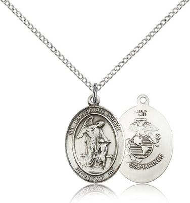 "Sterling Silver Guardian Angel / Marines Pendant, Sterling Silver Lite Curb Chain, Medium Size Catholic Medal, 3/4"" x 1/2"""
