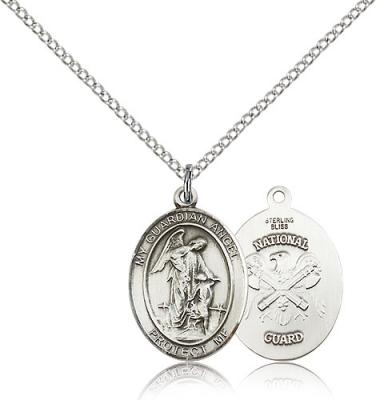"Sterling Silver Guardian Angel / Nat'L Guard Penda, Sterling Silver Lite Curb Chain, Medium Size Catholic Medal, 3/4"" x 1/2"""