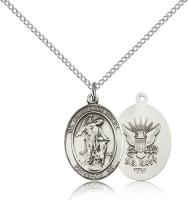 "Sterling Silver Guardian Angel / Navy Pendant, Sterling Silver Lite Curb Chain, Medium Size Catholic Medal, 3/4"" x 1/2"""