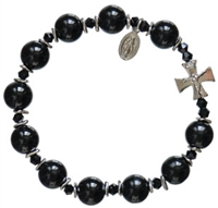 Rosary Bracelet with 10mm Black Onyx Beads, RBS9