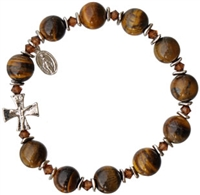 Rosary Bracelet with 10mm Tiger Eye Beads, RBS12