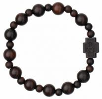 Rosary Bracelet with 10mm Dark Jujube Wood Beads, RBS3B