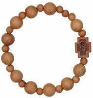 Rosary Bracelet with 10mm Light Jujube Wood Beads, RBS3C
